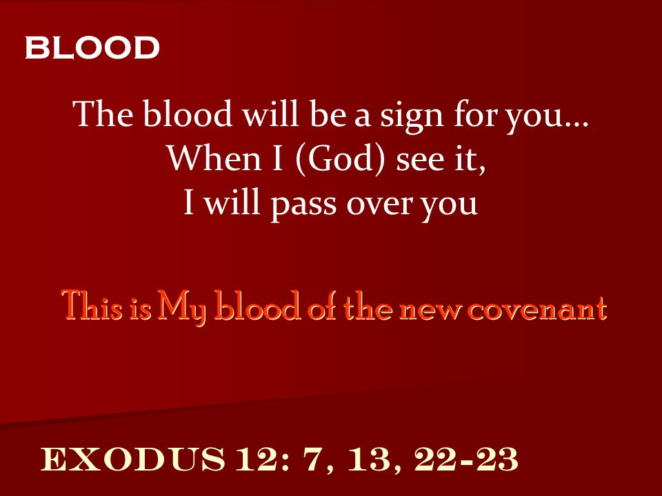Exodus 12: 7, 13, 22-23 The blood will be a sign for you… When I (God) see it, I will pass over you blood This is My blood of the new covenant
