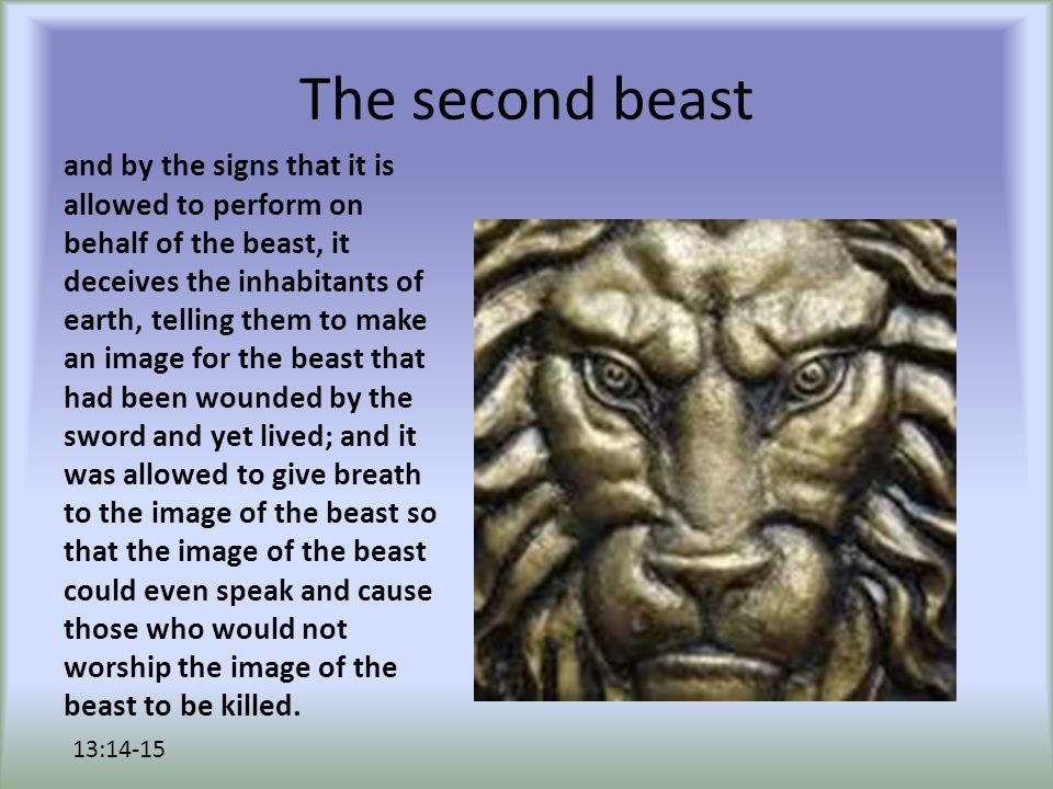 The second beast Also it causes all, both small and great, both rich and poor, both free and slave, to be marked on the right hand or the forehead, so that no one can buy or sell who does not have the mark, that is, the name of the beast or the number of its name.