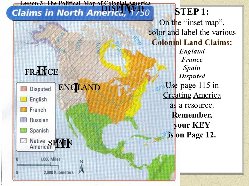 step 1 on the inset map color and label the various colonial land claims