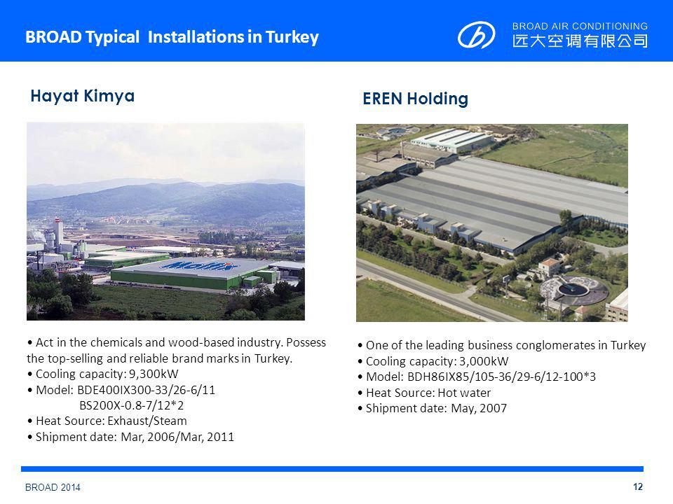 BROAD 2014 BROAD Typical Installations in Turkey 12 Hayat Kimya Act in the chemicals and wood-based industry.