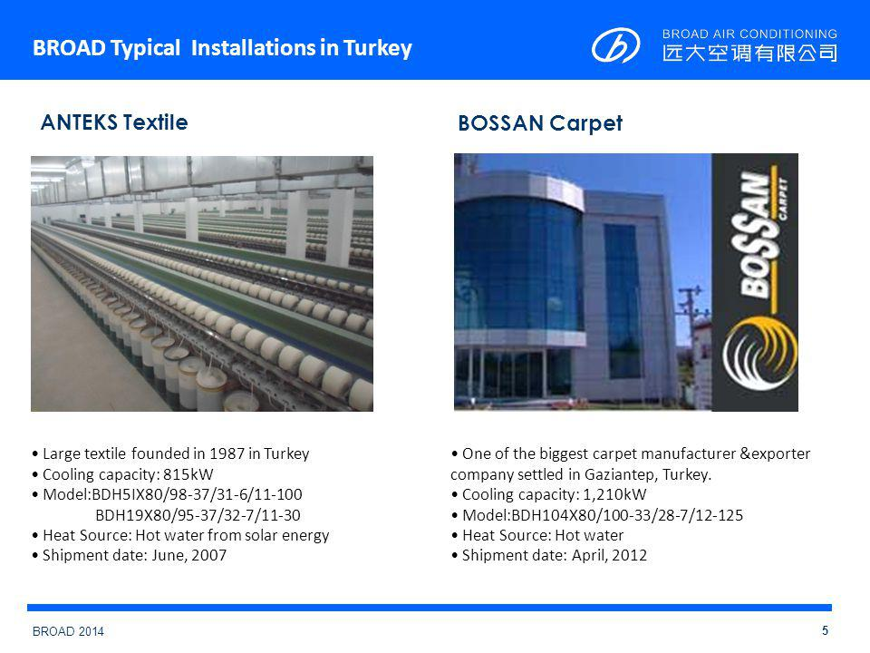 BROAD 2014 BROAD Typical Installations in Turkey 5 Large textile founded in 1987 in Turkey Cooling capacity: 815kW Model:BDH5IX80/98-37/31-6/11-100 BDH19X80/95-37/32-7/11-30 Heat Source: Hot water from solar energy Shipment date: June, 2007 ANTEKS Textile BOSSAN Carpet One of the biggest carpet manufacturer &exporter company settled in Gaziantep, Turkey.