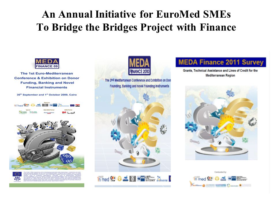 Meda Finance The Study CD Grants: in cash or as technical assistance up to Euro 1 million (50% to 80% of costs), feasibility studies, export finance, credit guarantee, diagnostics, upgrading, training, export promotion support, …etc Soft loans: up to 80% of project budget extending from US$ 100,000 up to 100 million, with interest from zero to less than commercial rate, both fixed and floating, both in euro/$ or local currency, with grace periods from 1 up to 8 years and maturity from 5 up to 15 years (sovereign loans are 0.75% interest, grace 10 years, and maturity 40 years)