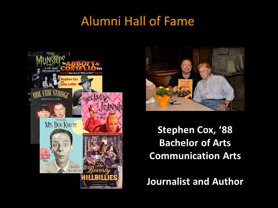 Stephen Cox, '88 Bachelor of Arts Communication Arts Journalist and Author Alumni Hall of Fame