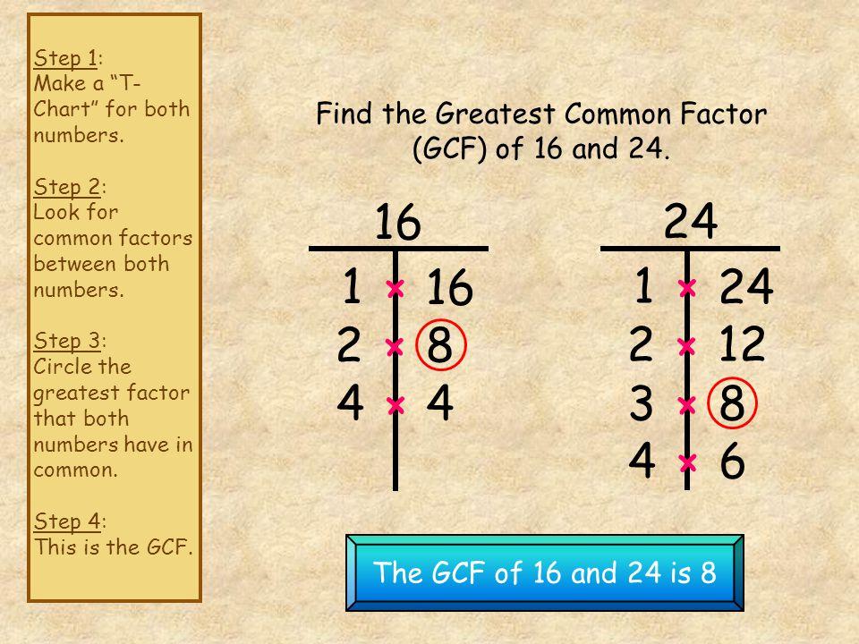 Find the GCF of 12 and 18 18 and 27 24 and 30 36 and 45 24 and 36 16, 32 and 40 18,27 and 36
