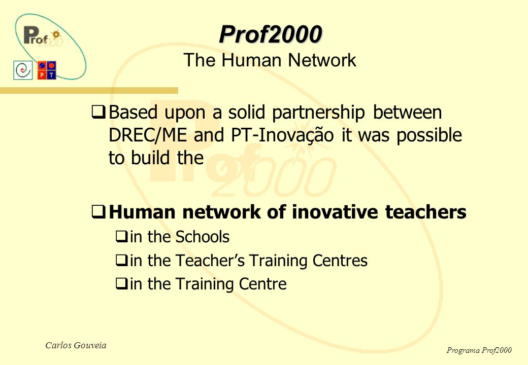 Carlos Gouveia Programa Prof2000  Based upon a solid partnership between DREC/ME and PT-Inovação it was possible to build the  Human network of inovative teachers  in the Schools  in the Teacher's Training Centres  in the Training Centre Prof2000 Prof2000 The Human Network