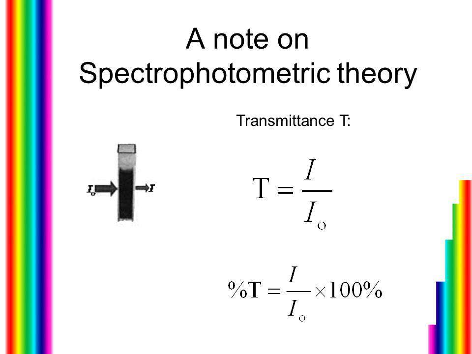 A note on Spectrophotometric theory Transmittance T: