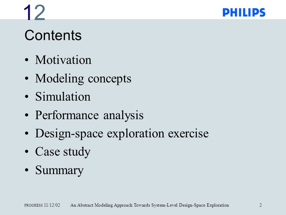 1212 PROGRESS 11/12/02An Abstract Modeling Approach Towards System-Level Design-Space Exploration3 Motivation Traditional hardware/software co-design methods suffer from too many iterations that consume too much costly development time.