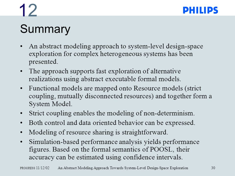 1212 PROGRESS 11/12/02An Abstract Modeling Approach Towards System-Level Design-Space Exploration30 Summary An abstract modeling approach to system-level design-space exploration for complex heterogeneous systems has been presented.