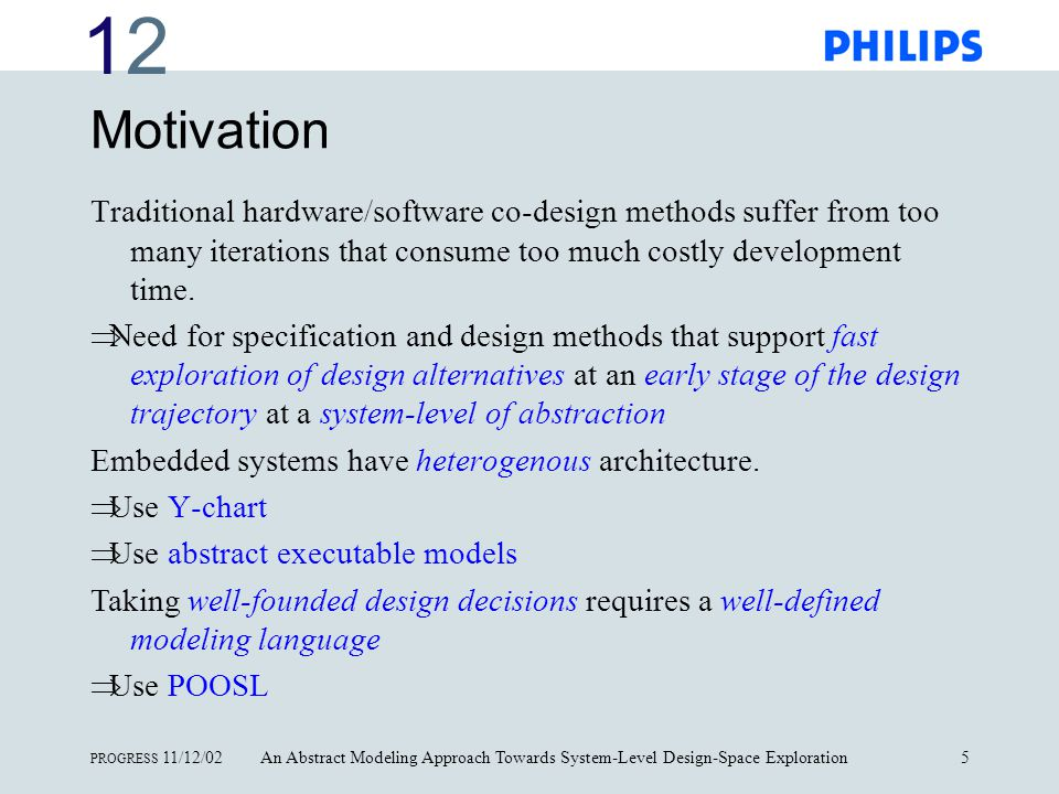 1212 PROGRESS 11/12/02An Abstract Modeling Approach Towards System-Level Design-Space Exploration6 Contents Motivation Modeling concepts Simulation Performance analysis Design-space exploration exercise Case study Summary