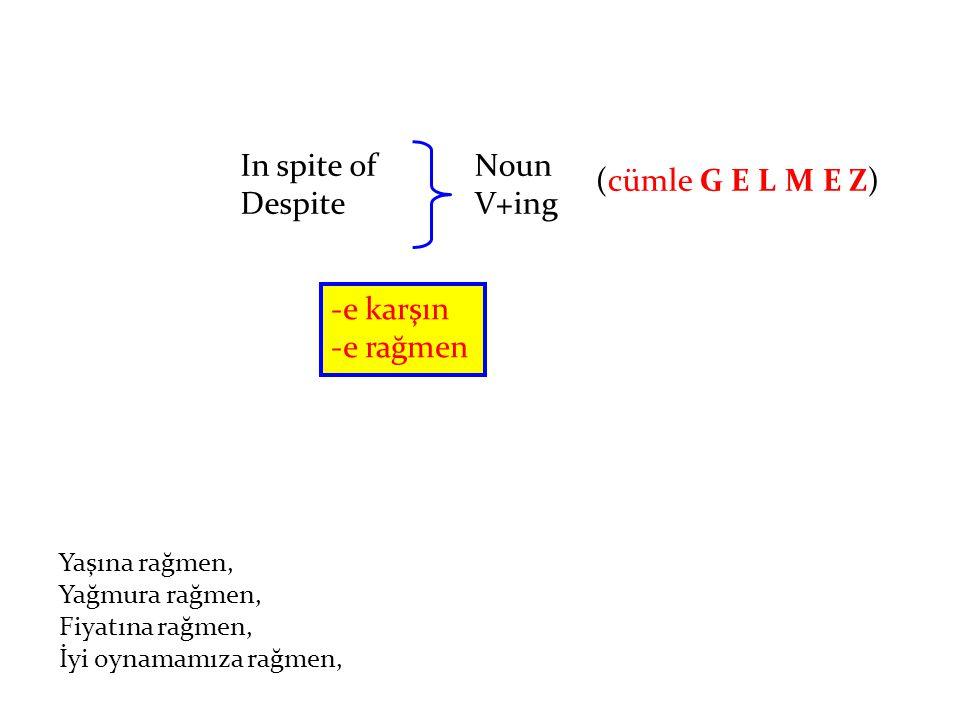 In spite of Despite Noun V+ing -e karşın -e rağmen Yaşına rağmen, Yağmura rağmen, Fiyatına rağmen, İyi oynamamıza rağmen, (cümle G E L M E Z)