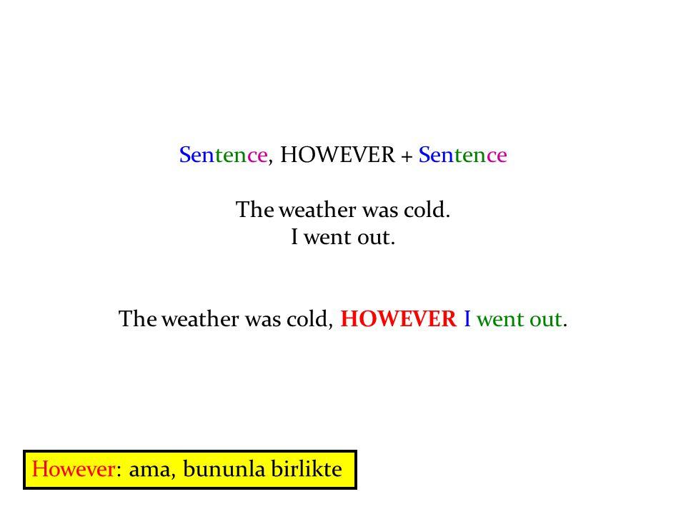 Sentence, HOWEVER + Sentence The weather was cold.