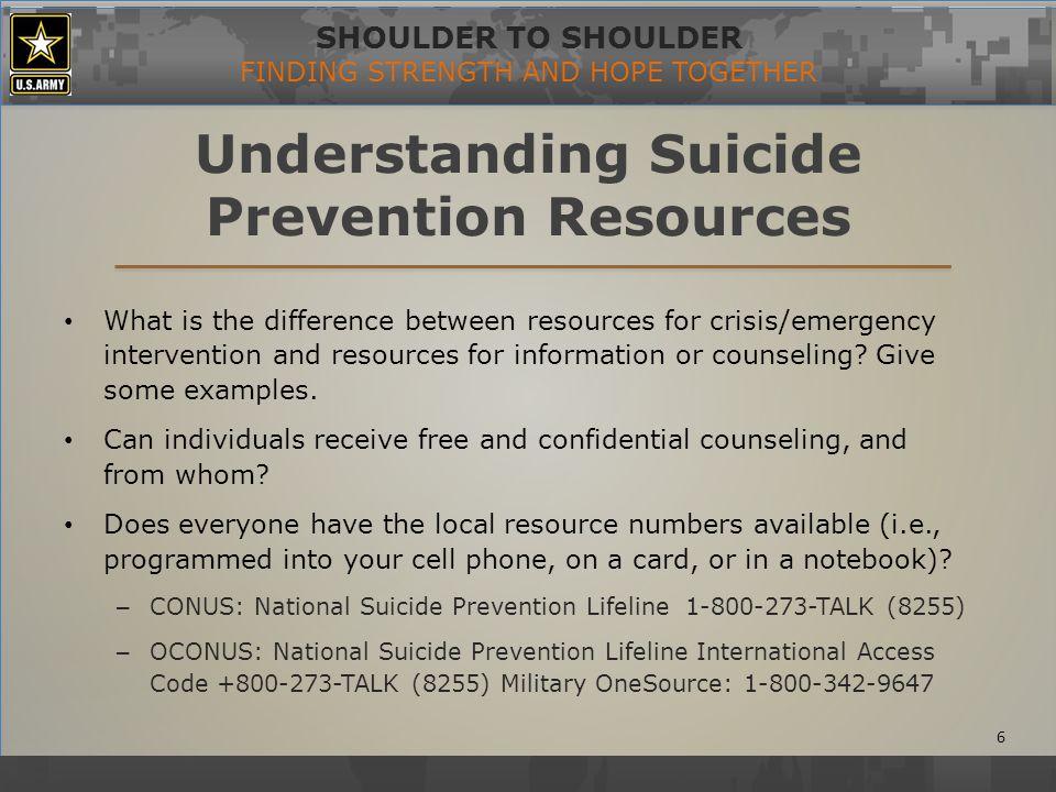 SHOULDER TO SHOULDER FINDING STRENGTH AND HOPE TOGETHER Suicide Prevention Training Cards 7 (GTA 083-0108)(GTA 12-01-006)(GTA 075-0507)