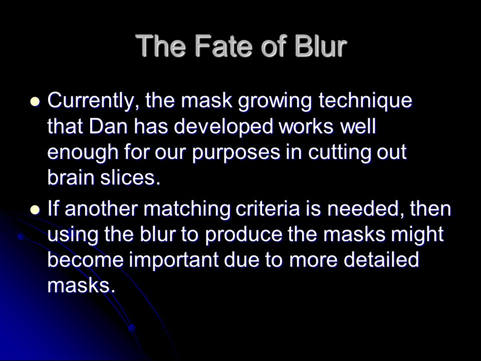 The Fate of Blur Currently, the mask growing technique that Dan has developed works well enough for our purposes in cutting out brain slices.