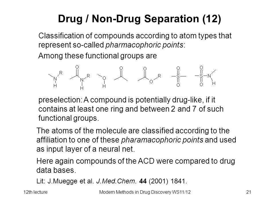 12th lectureModern Methods in Drug Discovery WS11/1221 Drug / Non-Drug Separation (12) Classification of compounds according to atom types that represent so-called pharmacophoric points: Among these functional groups are preselection: A compound is potentially drug-like, if it contains at least one ring and between 2 and 7 of such functional groups.