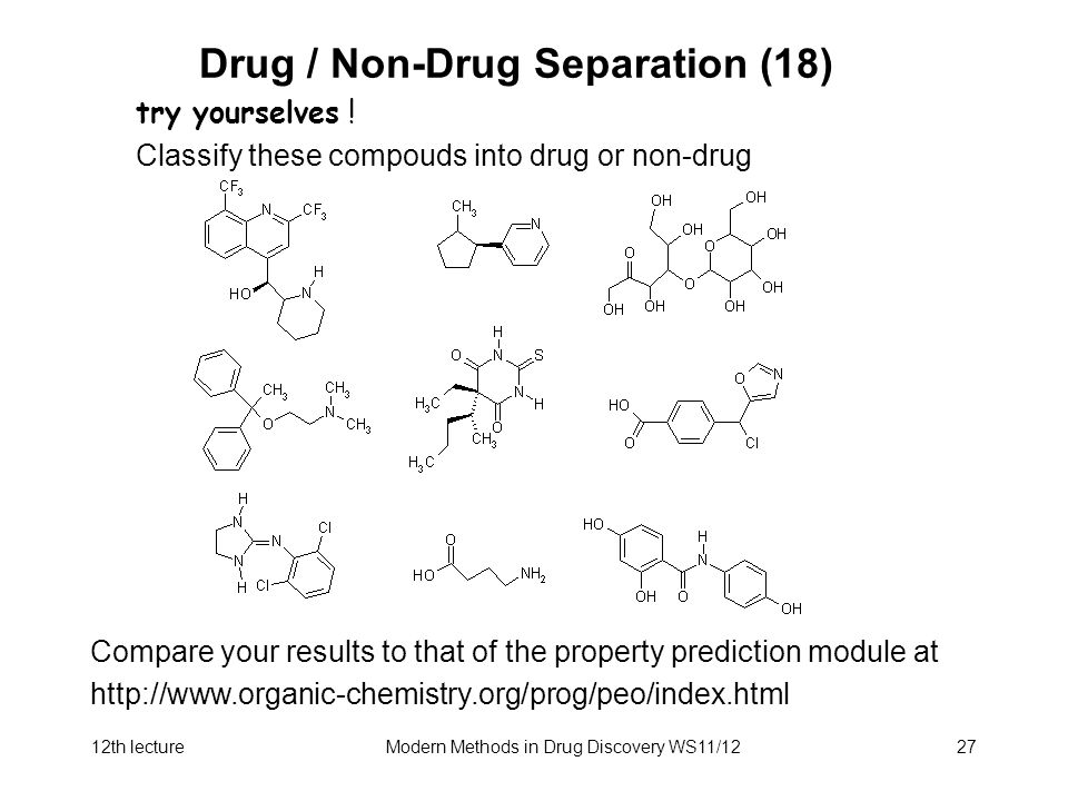 12th lectureModern Methods in Drug Discovery WS11/1227 Drug / Non-Drug Separation (18) try yourselves .