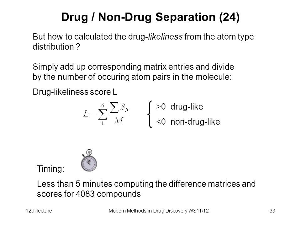 12th lectureModern Methods in Drug Discovery WS11/1233 Drug / Non-Drug Separation (24) But how to calculated the drug-likeliness from the atom type distribution .