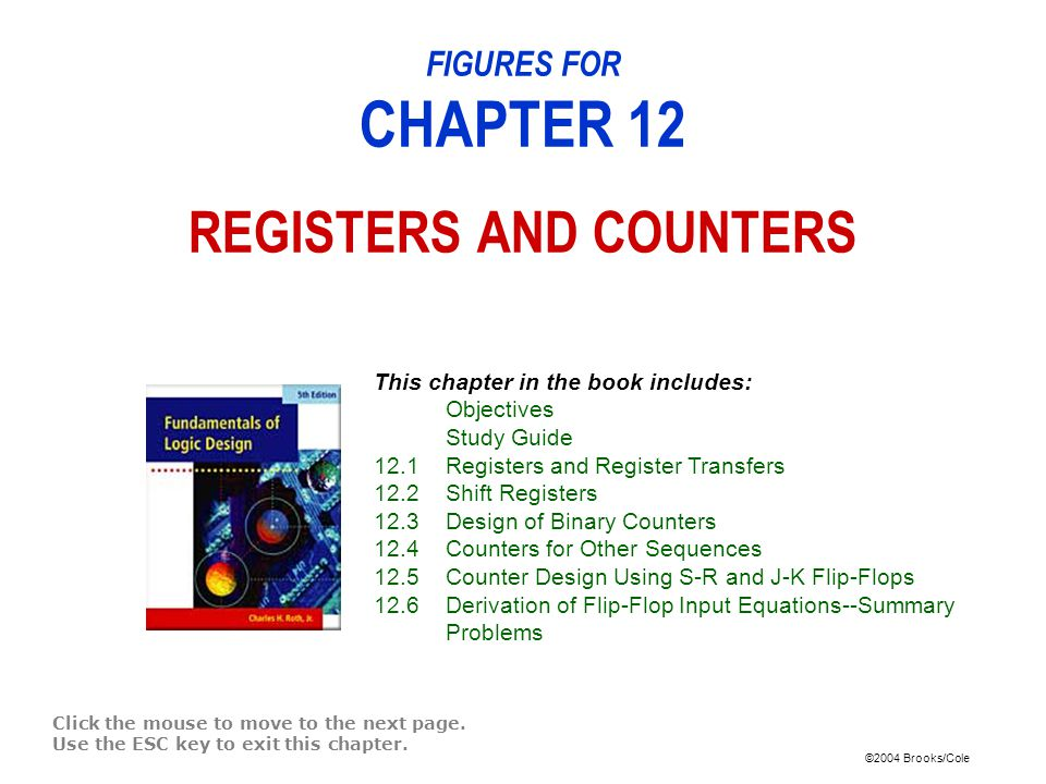 ©2004 Brooks/Cole Figure 12-1: 4-Bit D Flip-Flop Registers with Data, Load, Clear, and Clock Inputs