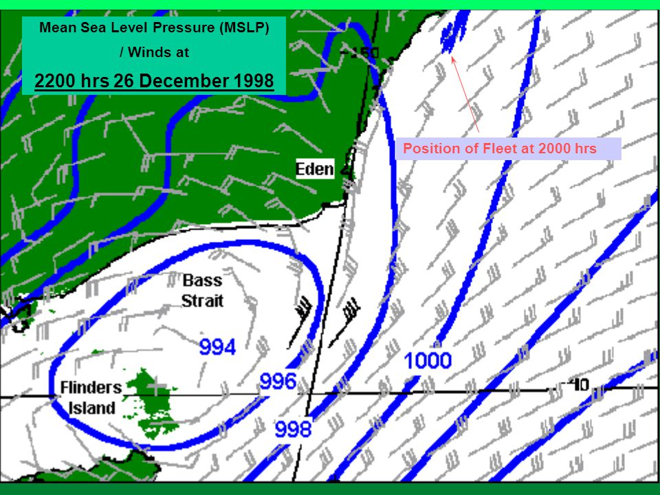 Mean Sea Level Pressure (MSLP) / Winds at 2200 hrs 26 December 1998 Position of Fleet at 2000 hrs