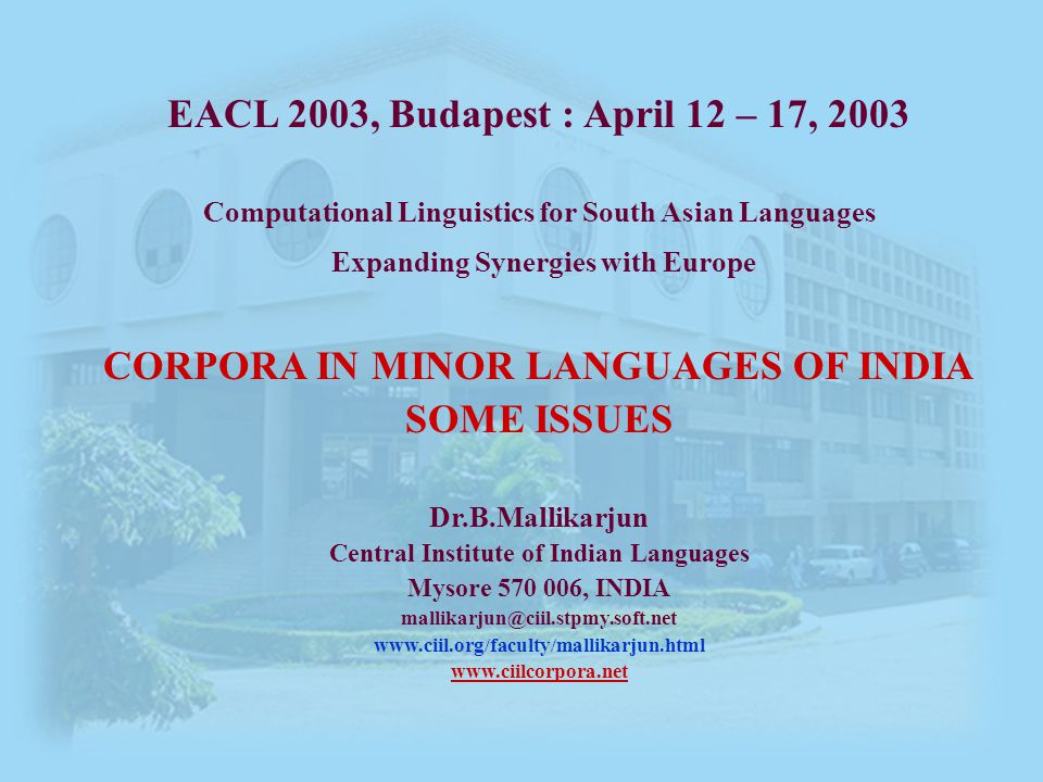 32 EACL 2003, CLSAL: Budapest – April 12 – 17, 2003