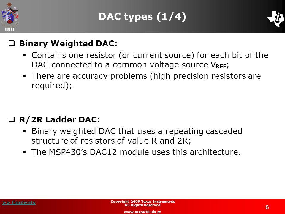 UBI >> Contents 27 Copyright 2009 Texas Instruments All Rights Reserved www.msp430.ubi.pt Laboratory 6: Voltage ramp generator (6/16)  C.