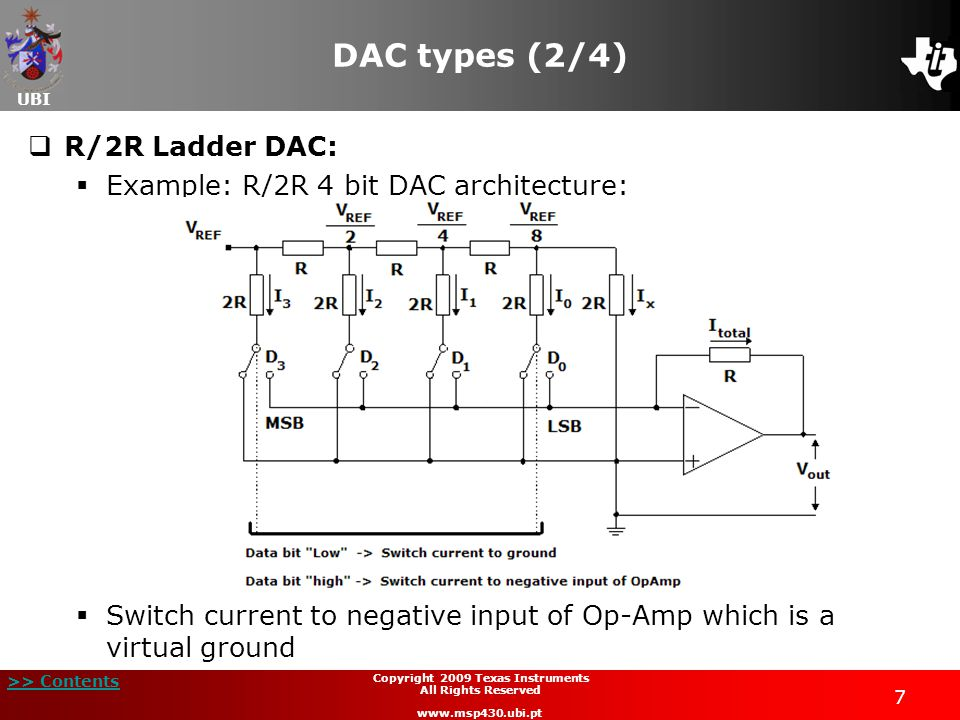 UBI >> Contents 7 Copyright 2009 Texas Instruments All Rights Reserved www.msp430.ubi.pt DAC types (2/4)  R/2R Ladder DAC:  Example: R/2R 4 bit DAC architecture:  Switch current to negative input of Op-Amp which is a virtual ground