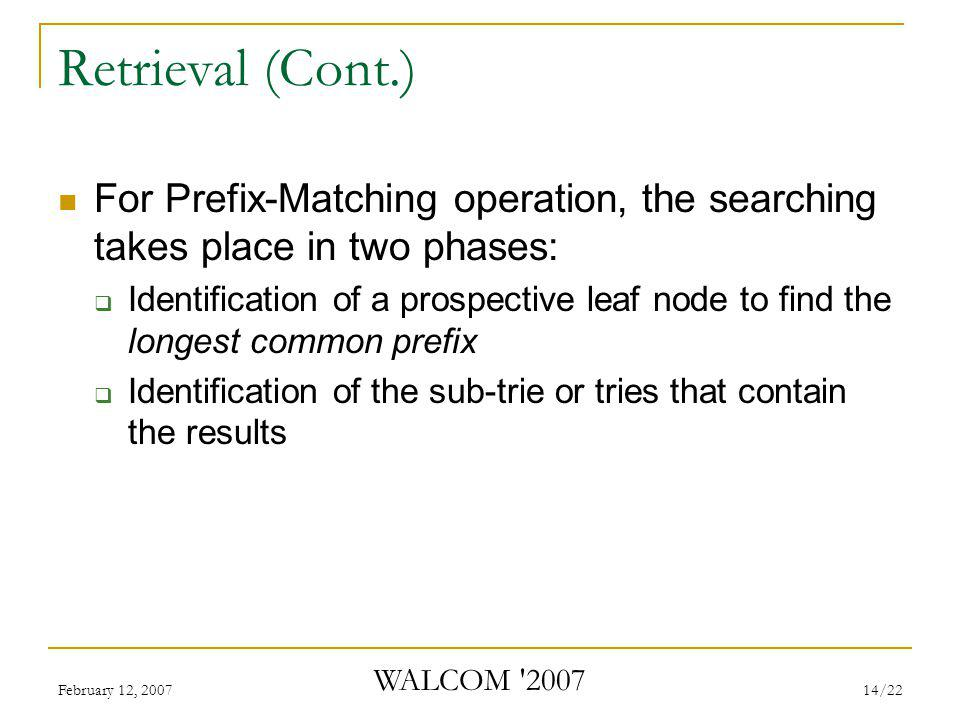 February 12, 2007 WALCOM 2007 14/22 Retrieval (Cont.) For Prefix-Matching operation, the searching takes place in two phases:  Identification of a prospective leaf node to find the longest common prefix  Identification of the sub-trie or tries that contain the results