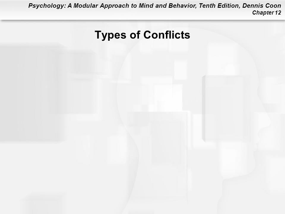 Psychology: A Modular Approach to Mind and Behavior, Tenth Edition, Dennis Coon Chapter 12 Types of Conflicts
