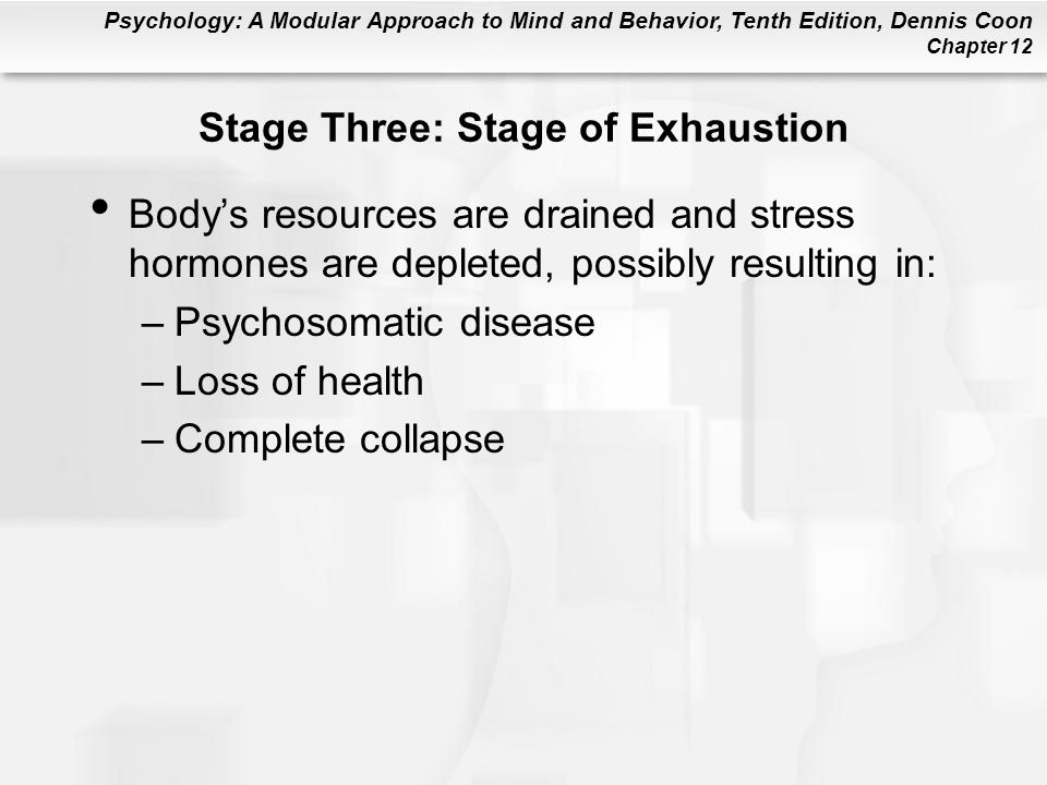 Psychology: A Modular Approach to Mind and Behavior, Tenth Edition, Dennis Coon Chapter 12 Stage Three: Stage of Exhaustion Body's resources are drain