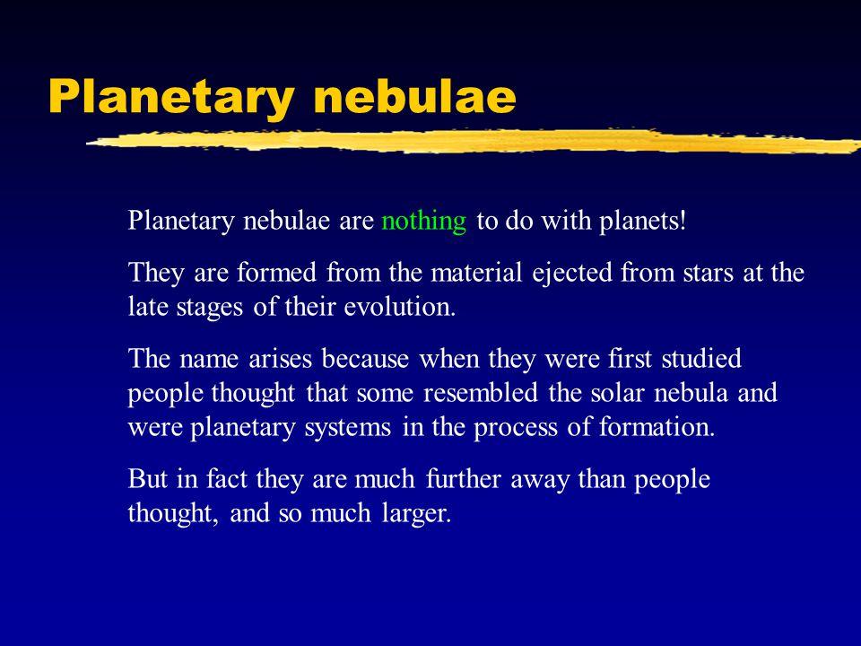 Planetary nebulae Planetary nebulae are nothing to do with planets.