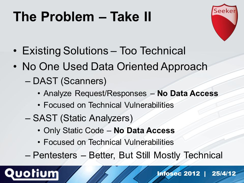 Infosec 2012 | 25/4/12 The Problem – Take II Existing Solutions – Too Technical No One Used Data Oriented Approach –DAST (Scanners) Analyze Request/Responses – No Data Access Focused on Technical Vulnerabilities –SAST (Static Analyzers) Only Static Code – No Data Access Focused on Technical Vulnerabilities –Pentesters – Better, But Still Mostly Technical