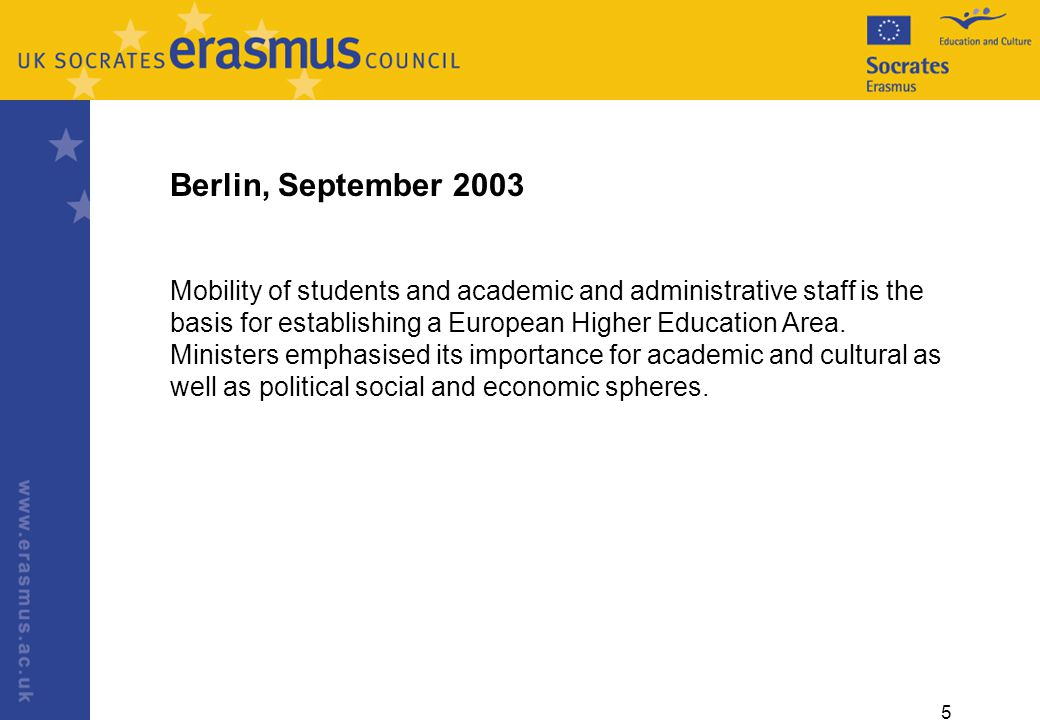 5 Berlin, September 2003 Mobility of students and academic and administrative staff is the basis for establishing a European Higher Education Area.