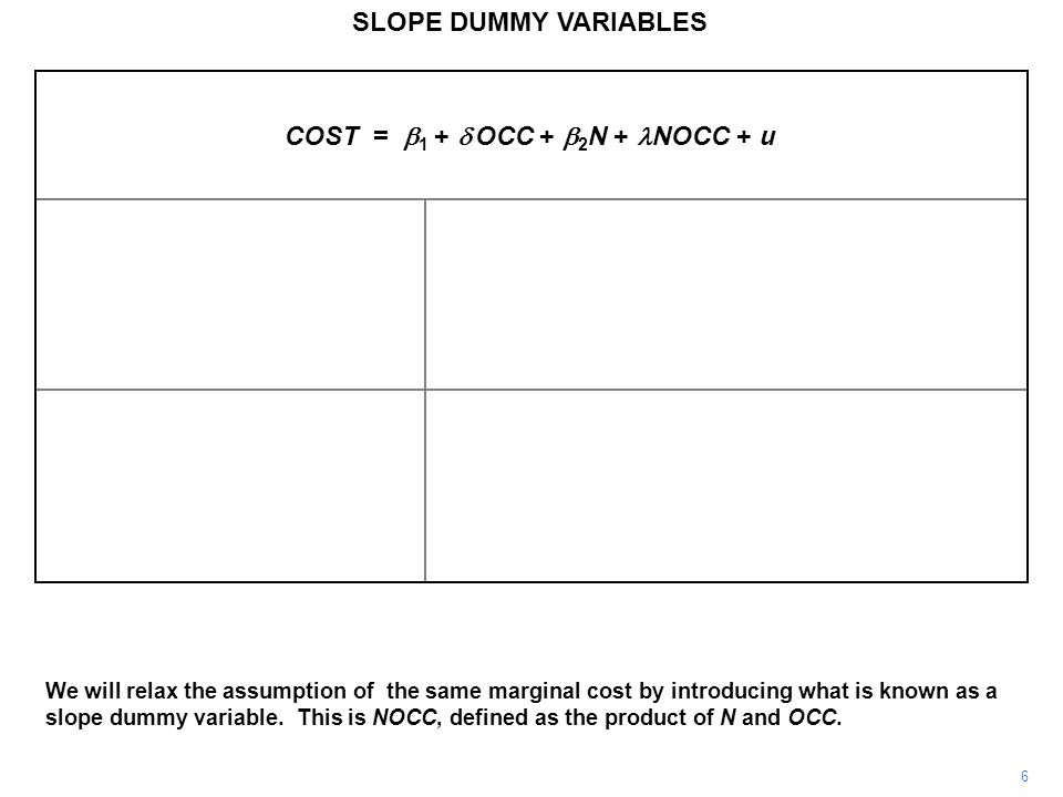 SLOPE DUMMY VARIABLES.