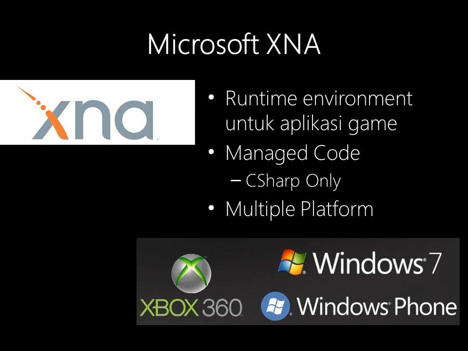 Microsoft XNA Runtime environment untuk aplikasi game Managed Code – CSharp Only Multiple Platform