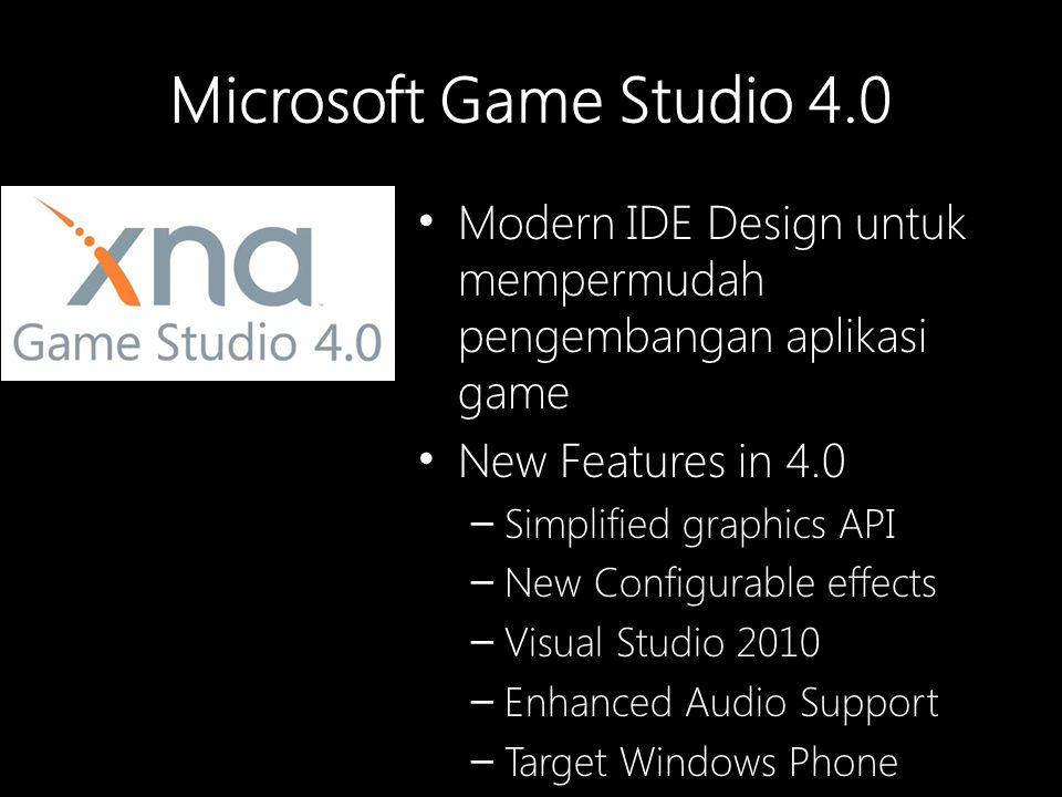 Microsoft Game Studio 4.0 Modern IDE Design untuk mempermudah pengembangan aplikasi game New Features in 4.0 – Simplified graphics API – New Configurable effects – Visual Studio 2010 – Enhanced Audio Support – Target Windows Phone