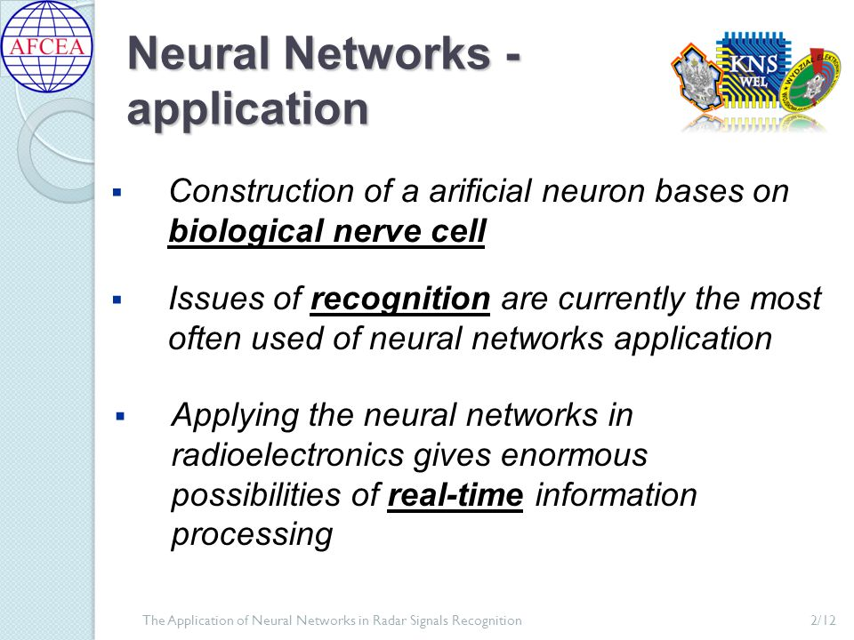 McCulloch-Pitts Neuron Model input values (signals) vector weighted coefficients vector total neuron excitation signal value at the neuron's output neuron activation function The Application of Neural Networks in Radar Signals Recognition3/12