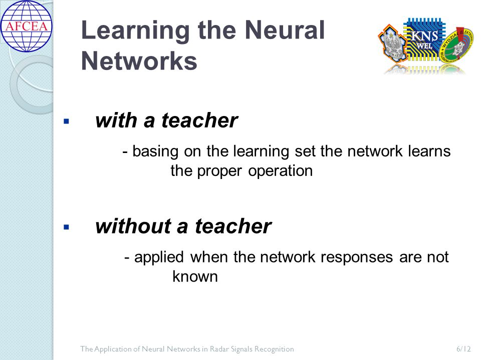 Learning the Neural Networks 6/12The Application of Neural Networks in Radar Signals Recognition  with a teacher  without a teacher - basing on the learning set the network learns the proper operation - applied when the network responses are not known