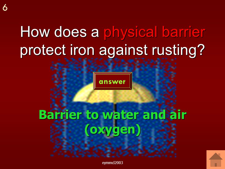 eymmcl2003 Give an example of how iron can be physically protected.