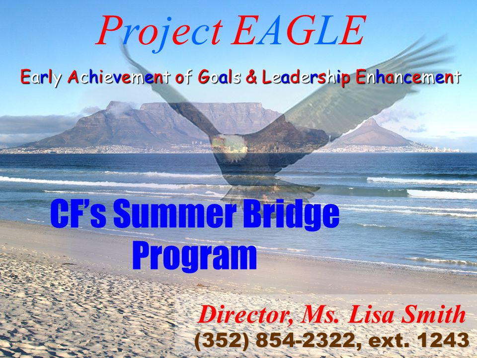 CF's Summer Bridge Program Project EAGLE Early Achievement of Goals & Leadership Enhancement Director, Ms.