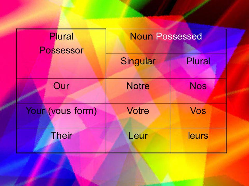 Plural Possessor Noun Possessed SingularPlural OurNotreNos Your (vous form)VotreVos TheirLeurleurs