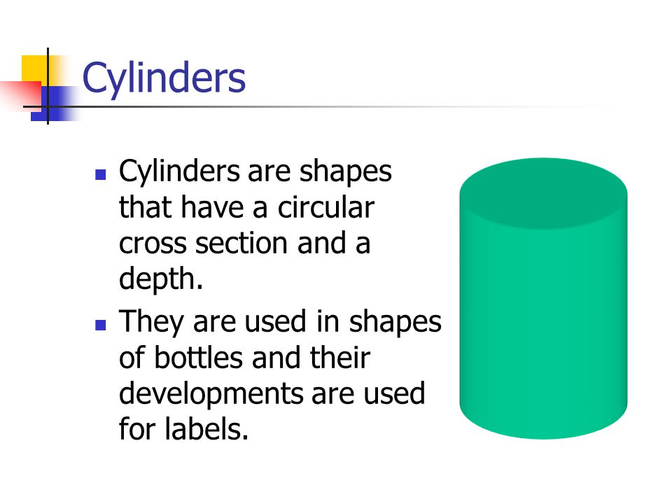 Cylinders - the Development Project vertical lines down from these points.