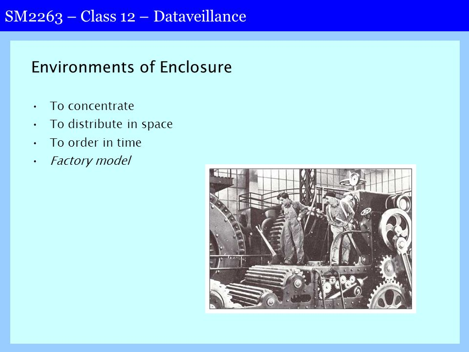 SM2263 – Class 12 – Dataveillance Environments of Enclosure To concentrate To distribute in space To order in time Factory model