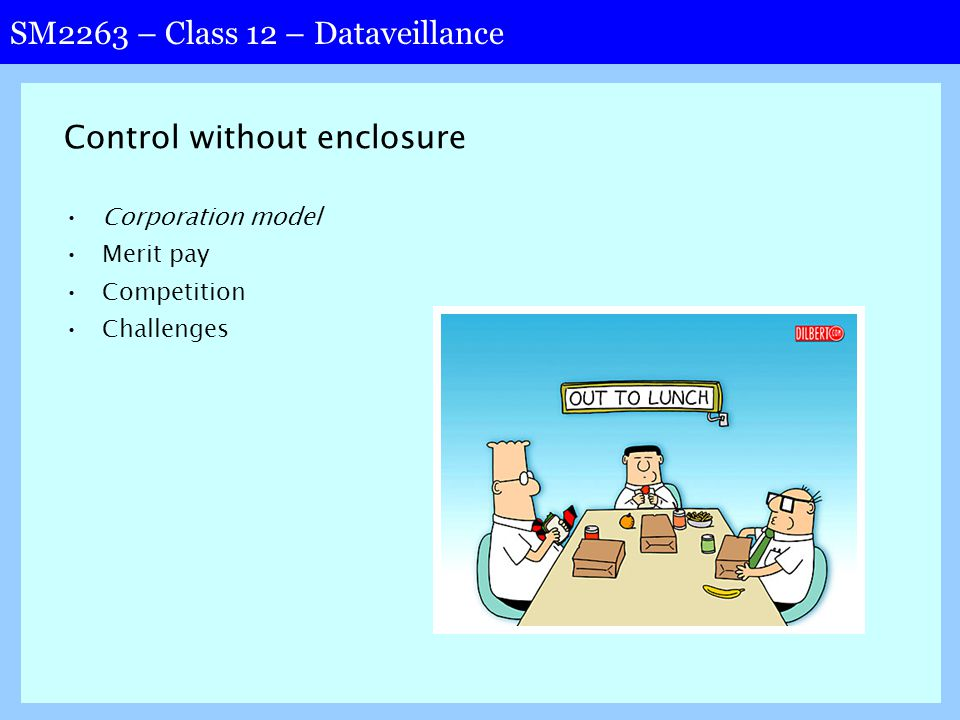 SM2263 – Class 12 – Dataveillance Control without enclosure Corporation model Merit pay Competition Challenges