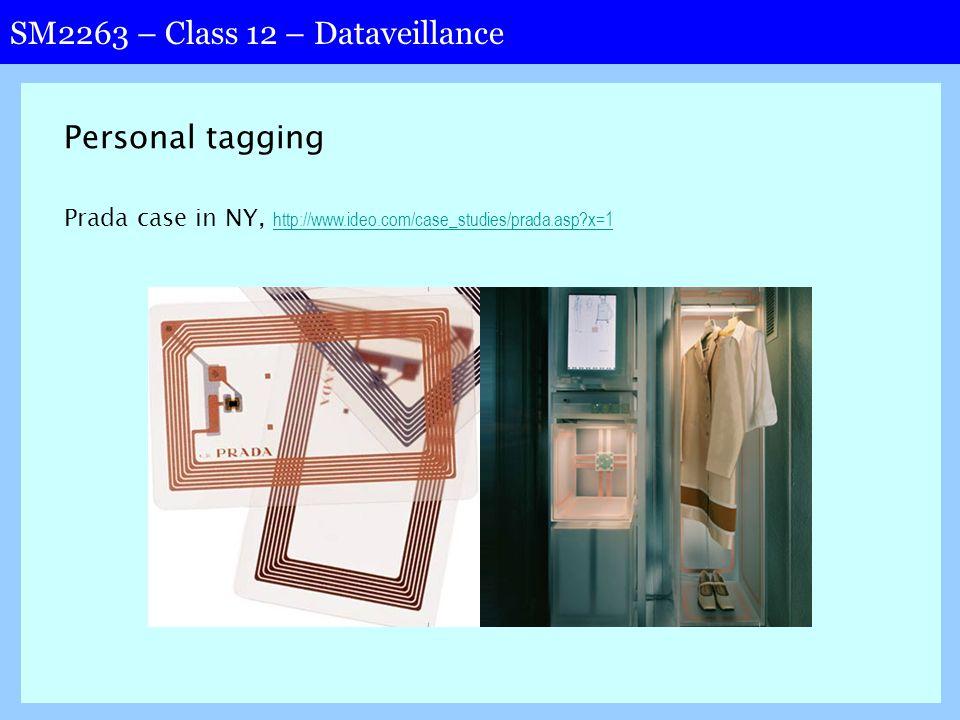 SM2263 – Class 12 – Dataveillance Personal tagging Prada case in NY, http://www.ideo.com/case_studies/prada.asp?x=1 http://www.ideo.com/case_studies/prada.asp?x=1