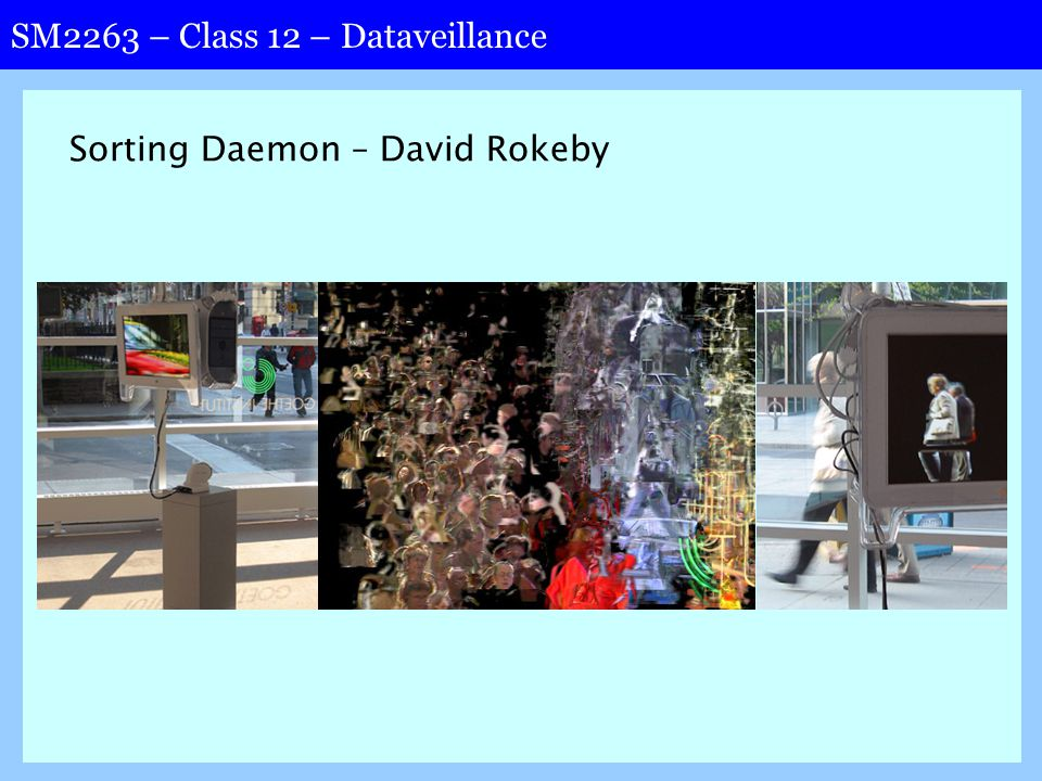 SM2263 – Class 12 – Dataveillance Sorting Daemon – David Rokeby