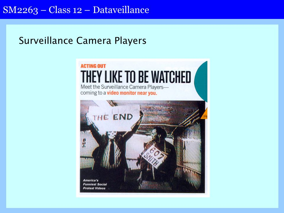 SM2263 – Class 12 – Dataveillance Surveillance Camera Players