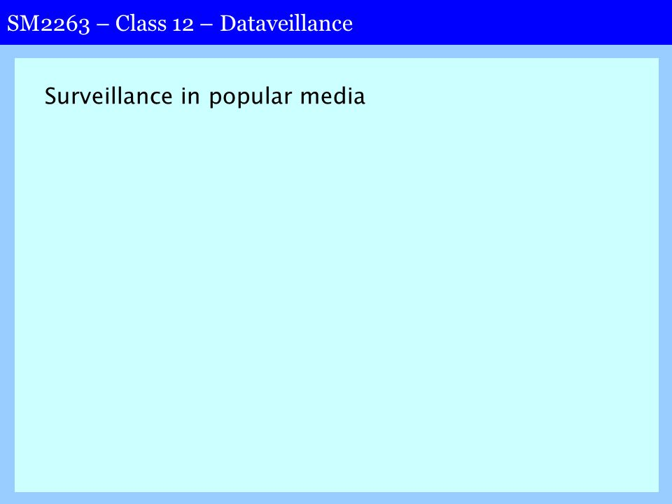 SM2263 – Class 12 – Dataveillance Surveillance in popular media