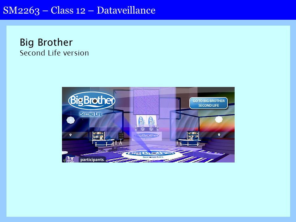 SM2263 – Class 12 – Dataveillance Big Brother Second Life version
