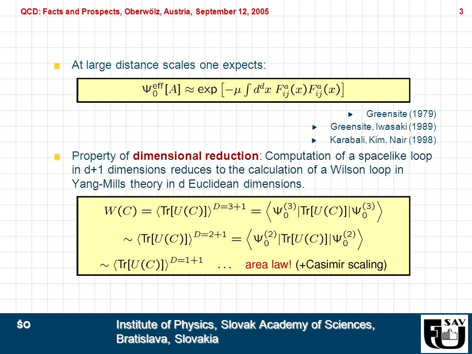 ŠO Institute of Physics, Slovak Academy of Sciences, Bratislava, Slovakia QCD: Facts and Prospects, Oberwölz, Austria, September 12, 2005 4 At weak couplings, one would like to similarly expand: For g!0 one has simply: Wheeler (1962)
