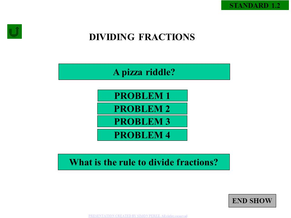 1 STANDARD 1.2 DIVIDING FRACTIONS PROBLEM 1 PROBLEM 3 PROBLEM 2 PROBLEM 4 A pizza riddle.