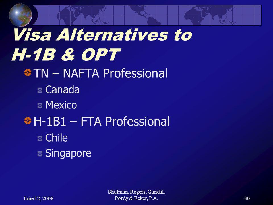 June 12, 2008 Shulman, Rogers, Gandal, Pordy & Ecker, P.A.30 Visa Alternatives to H-1B & OPT TN – NAFTA Professional Canada Mexico H-1B1 – FTA Professional Chile Singapore